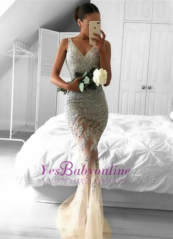 Sleeveless Beads Straps Glamorous Sexy Mermaid Mesh Lace Appliques-Appliques Evening Dress
