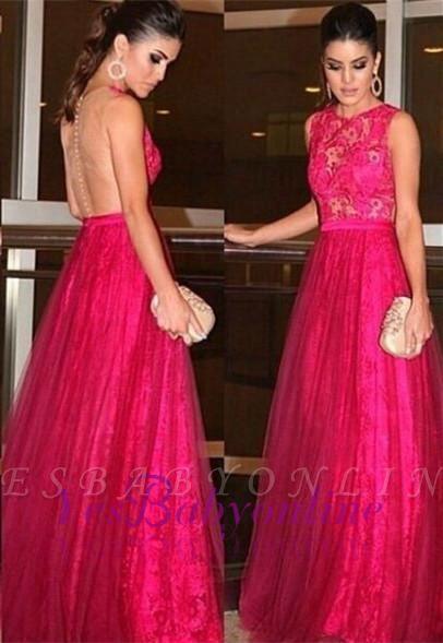 Zipper Sleeveless Jewel Lace Newest A-line Evening Dress
