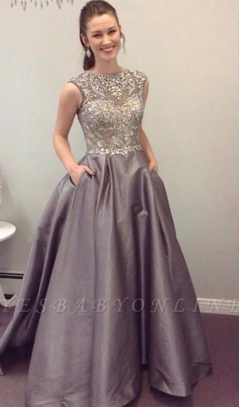 Luxury Crystals Prom Dresses with Pockets A-line Puffy Evening Gowns
