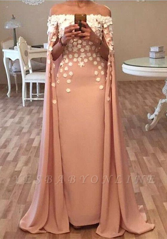 Long Designer Appliques Flowers Glamorous Floor-Length Prom Dress