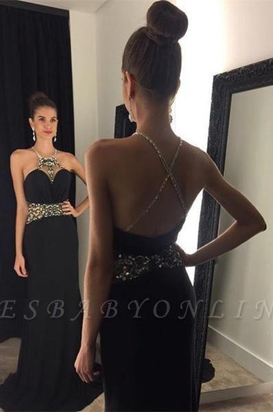 Halter Neck Black Prom Dresses Crystals Crisscross Back Long Evening Gowns
