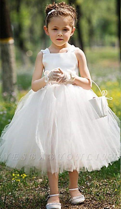 Tea Length Ball Gown Baby Flower Girl Dresses   Sweet Tulle Sleeveless Children Gowns