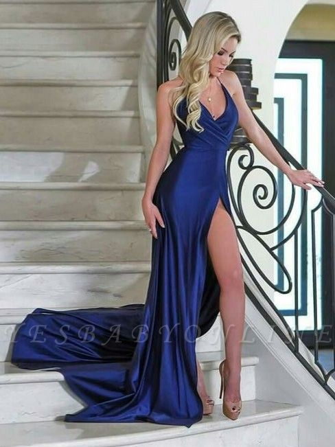 Sexy V-Neck Mermaid Evening Dresses | Sleeveless Side Slit Prom Dresses