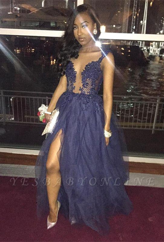 V-Neck A-Line Slit Sexy Lace  Prom Dress