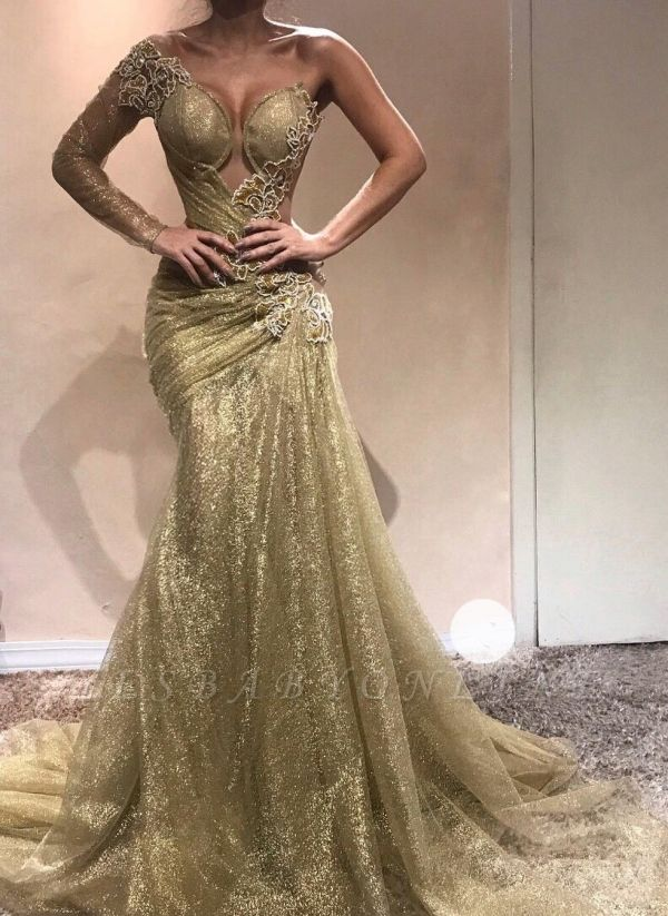 Elegant One-Shoulder Appliques Prom Dresses | Ruched Mermaid Gold Evening Gowns  BC0750