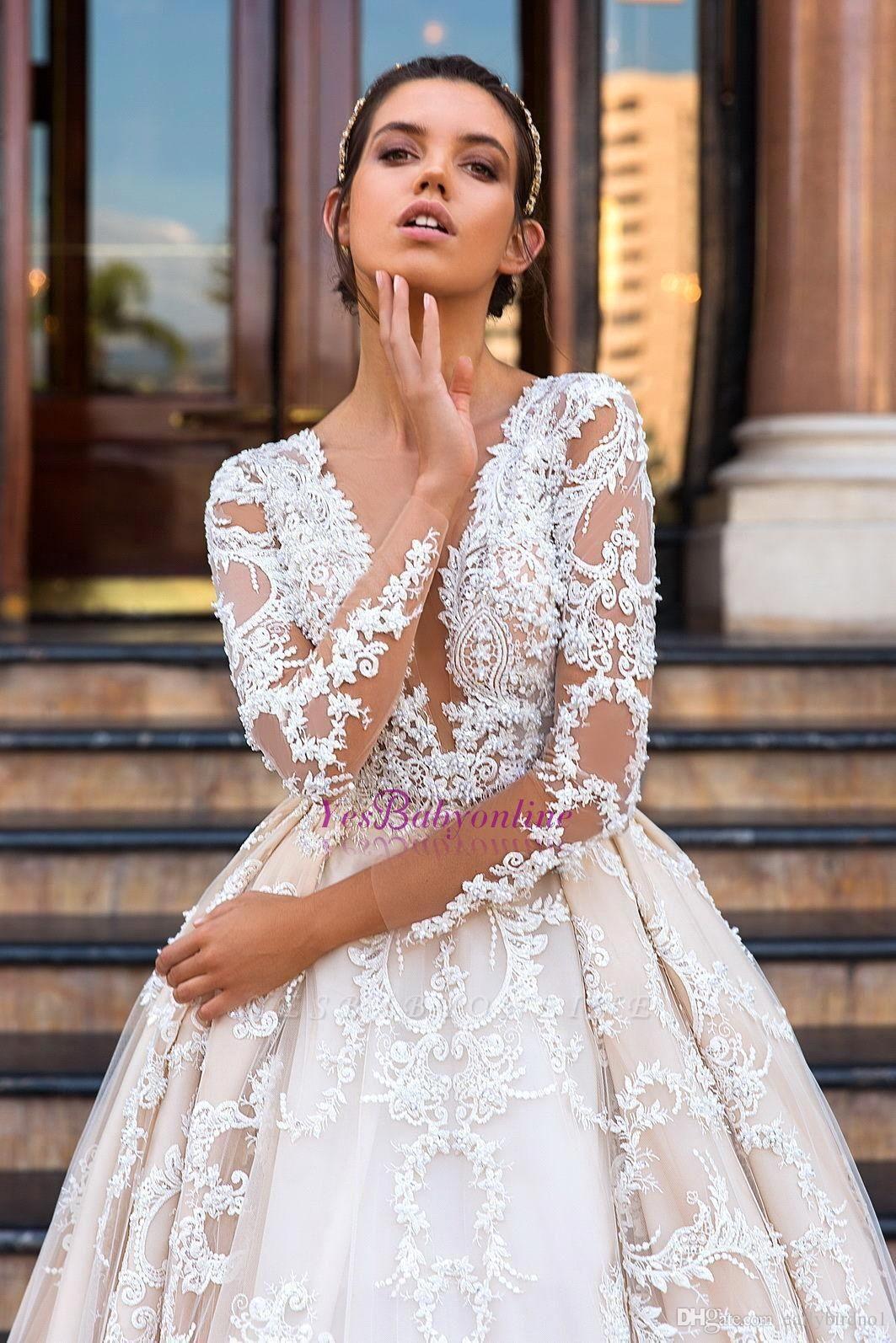 Lace Court-Train Princess Glamorous Long Sleeves Wedding Dress