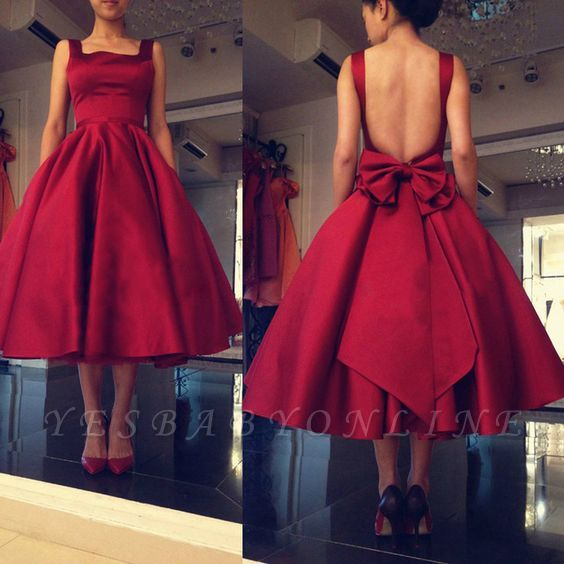 Backless Short Puffy Tea-Length Square-Neck Bowknot Red Prom Dresses