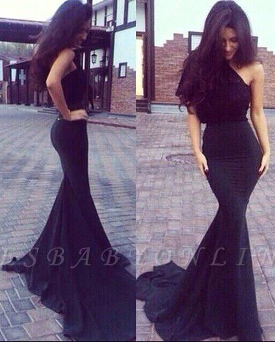New One-Shoulder Mermaid Elegant Black Prom Dresses