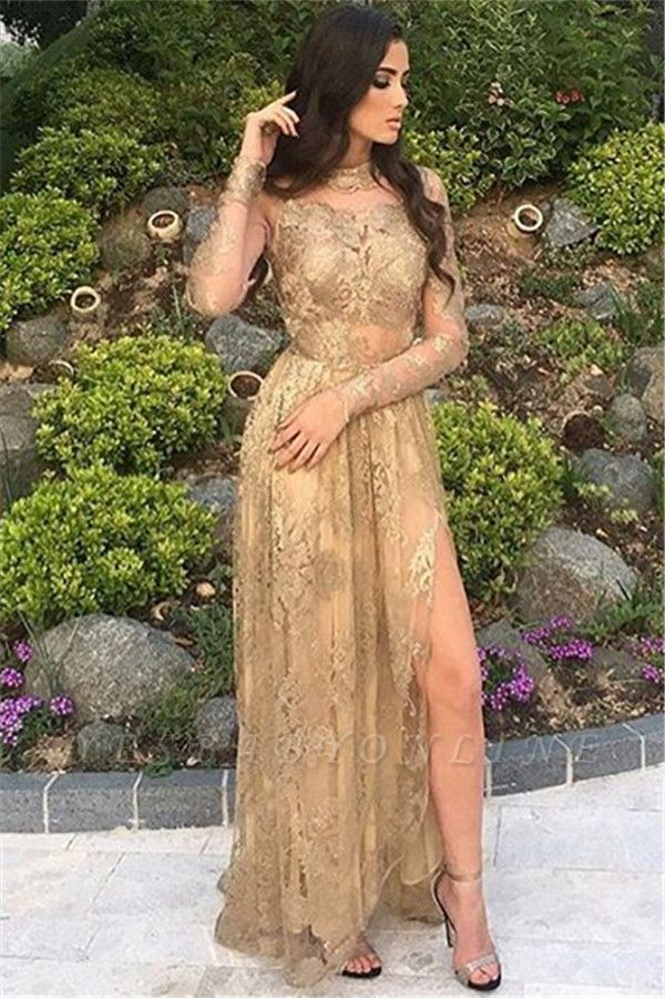 Appliques Long-Sleeves High-Neck Tulle Gold Side-Slit Sexy Prom Dresses