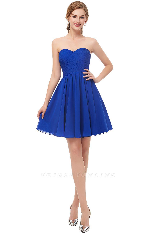 Royal-Blue Summer Sweetheart-Neck Short Cocktail Dresses