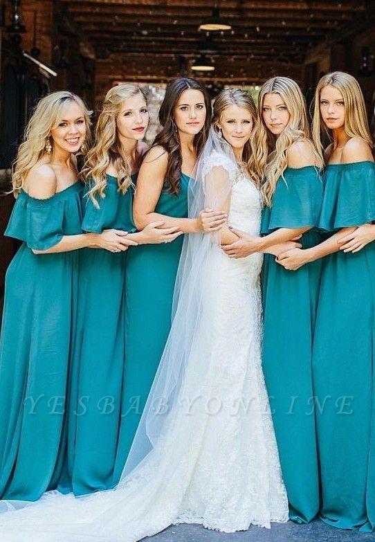 Green Shoulder Lang Hunter Elegant Chiffon Party Off Wedding Bridesmaid Dress