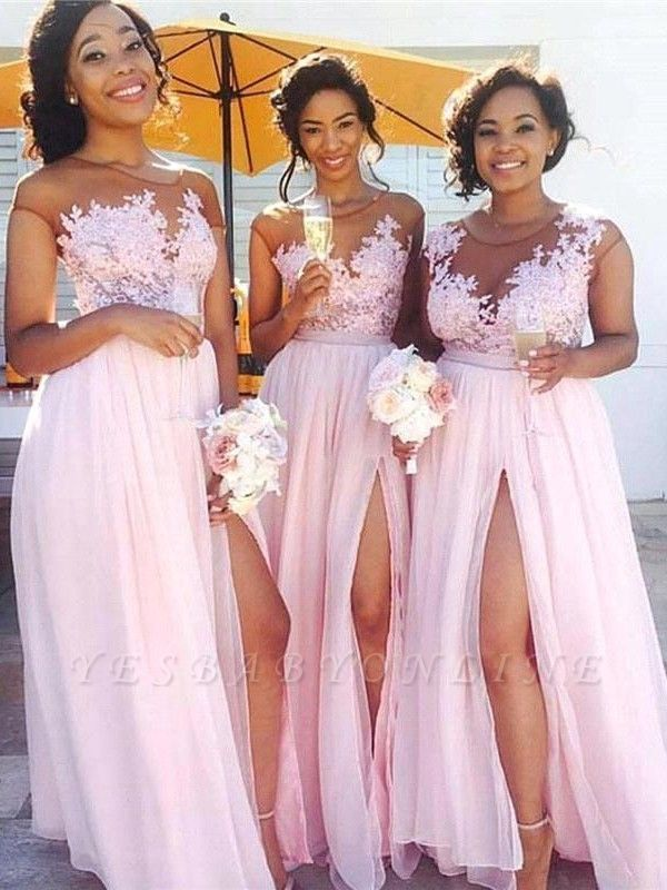 Exquisite A-Line Pink Chiffon Bridesmaid Dresses   Scoop Cap Sleeves Side Slit Long Wedding Party Dresses
