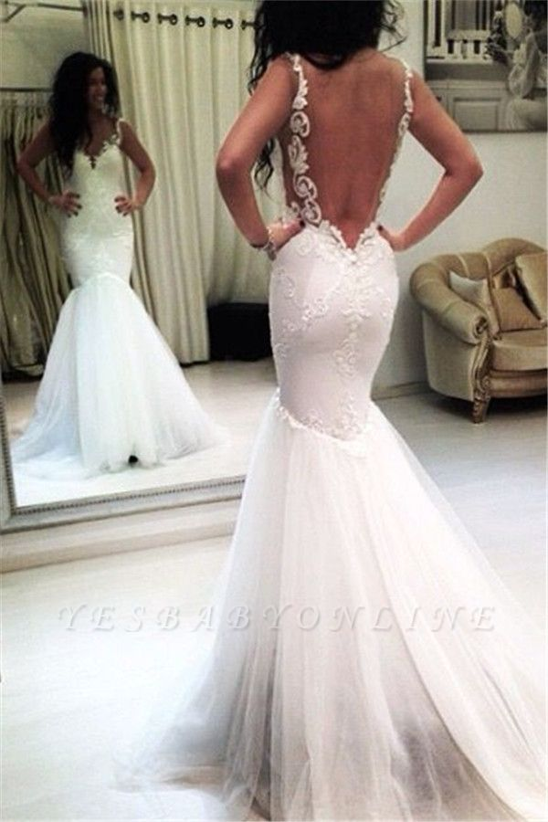 Sleeveless Sexy Appliques Open-Back Mermaid Tulle Wedding Dresses