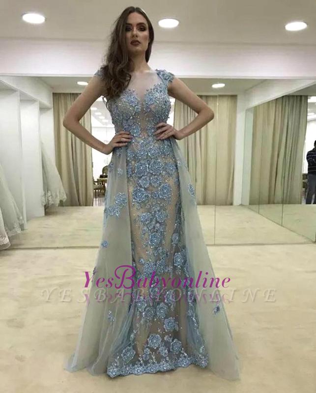 Lace Cap-Sleeve Ruffle Glamorous Mermaid Appliques Evening Dress