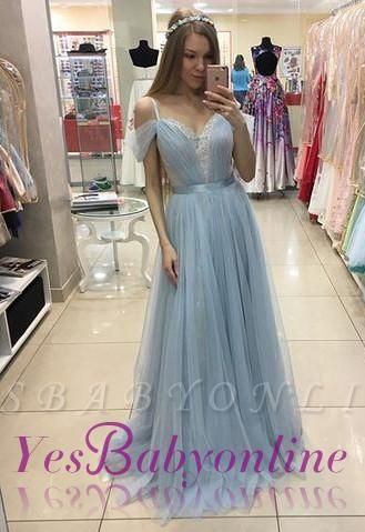A-line Sweep-train Beautiful Tulle Cap-Sleeves Straps Prom Dress