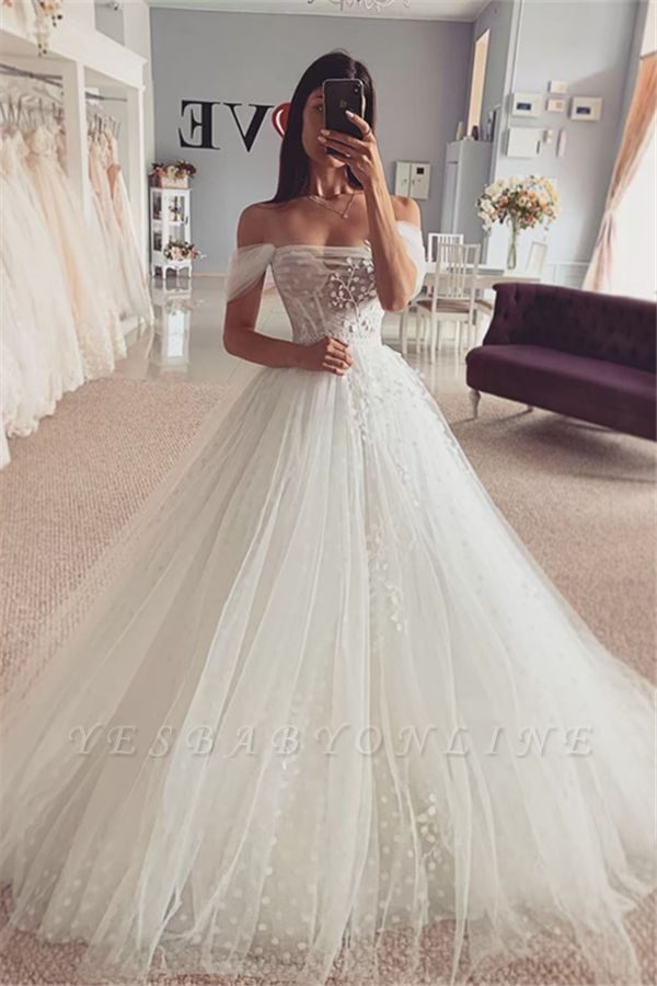 Simple Off The Shoulder Backless Tulle Flower A Line Wedding Dress