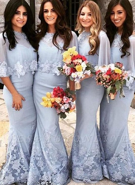 Long Mermaid Appliques Bridesmaid Dresses | Cap Sleeves Lace Wedding Guest Dresses