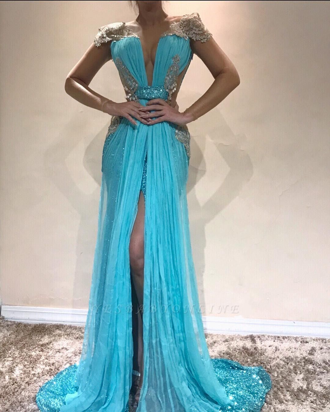 Sexy Mermaid Blue Evening Dresses | Slit Capped Sleeves Sequins Pageant Dresses
