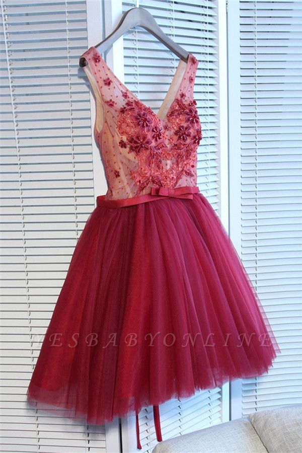 Glamorous V-Neck Tulle Short Hoco Dresses 2019 | Sleeveless Crystal Lace-Up Homecoming Dresses Cheap