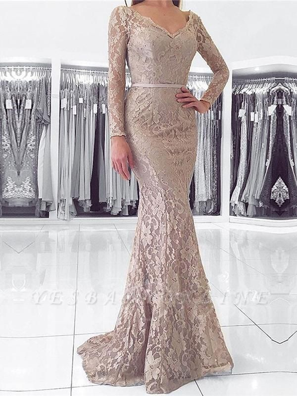Length Floor Dresses Long Sleeves Fashion With Evening Lace Party Gowns