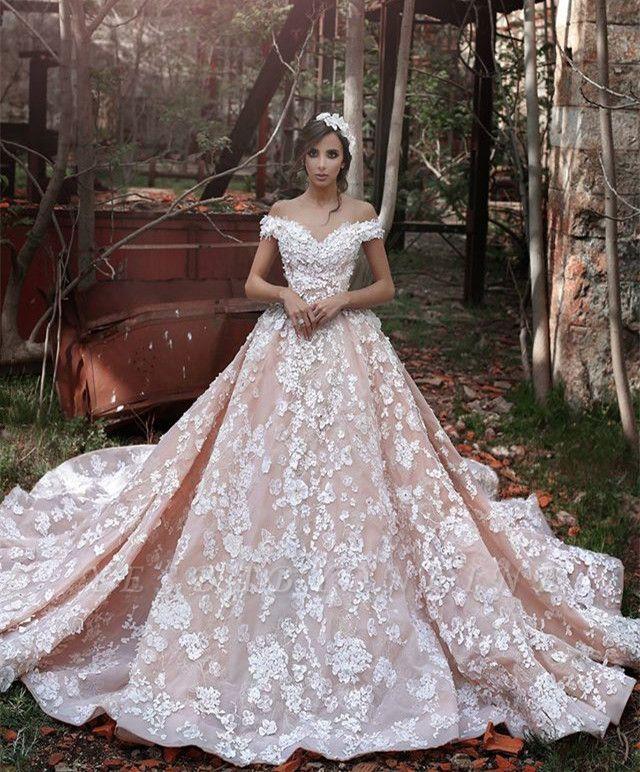 Glamorous Pink Off-the-shoulder Chapel Train Lace Appliques Wedding Dresses
