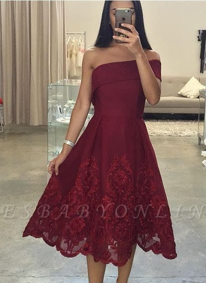 Burgundy Asymmetric Off-the-Shoulder Tea-Length Prom Dresses