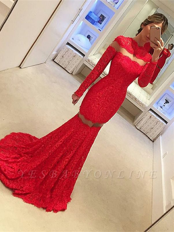 Red Lace Mermaid Prom Dresses Long Sleeves Sheer Sexy 2019 Evening Gowns