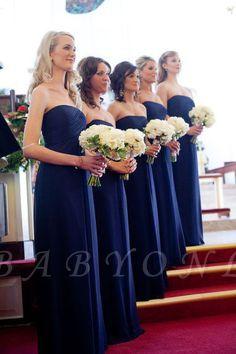 Chiffon Royal Long Chic Blue Evening Bridesmaid Dresses