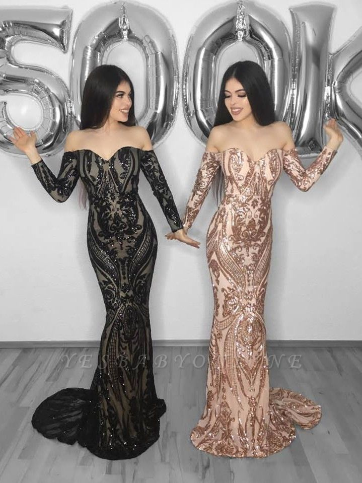 Shiny Mermaid Sweetheart Long Sleeves Long Prom Dress with Appliques