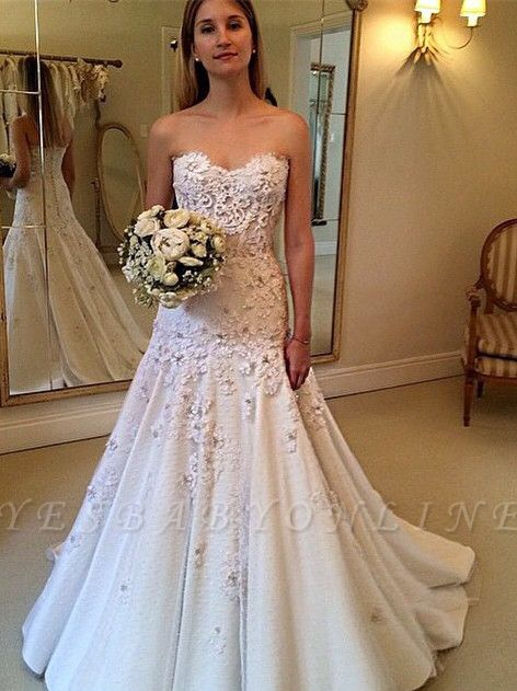 Zipper Lace Appliques  Glamorous Sweetheart Wedding Dresses