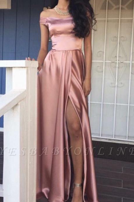Off-the-Shoulder Front-Slit Rose Pink Shiny A-line Prom Dresses