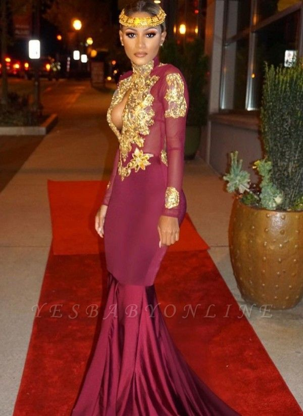 Open-Back Keyhole Mermaid Burgundy Gold-Appliques Long-Sleeves Prom Dresses