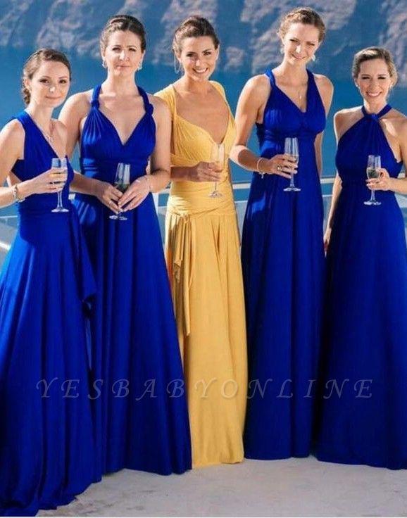 Sexy Blue Long Party Royal Chiffon Wedding Bridesmaid Dress