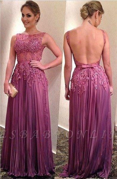 Sleeveless Appliques Ruffles A-Line Elegant Backless Prom Dresses