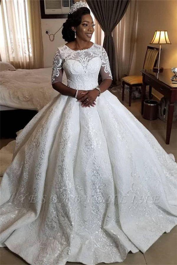 Plus Size Jewel Half Sleeve Applique Beading Ruffles Ball Gown Wedding Dresses