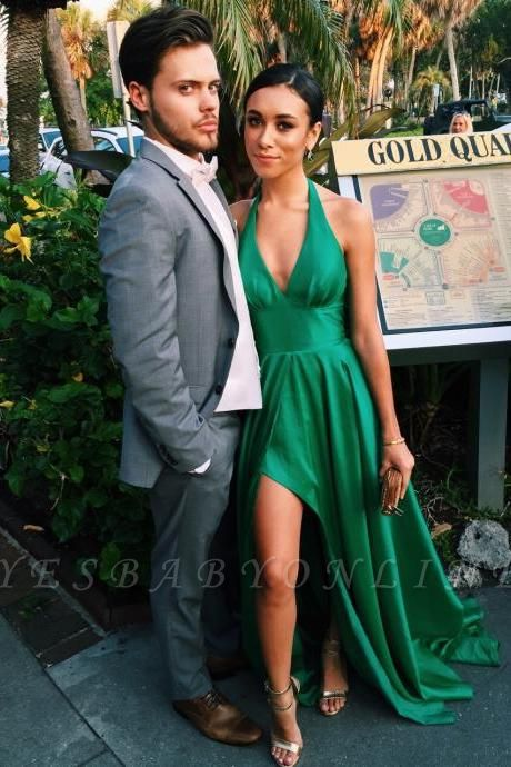 Sexy Green Prom Dresses A-Line Side Slit Halter V-Neck Party Dresses