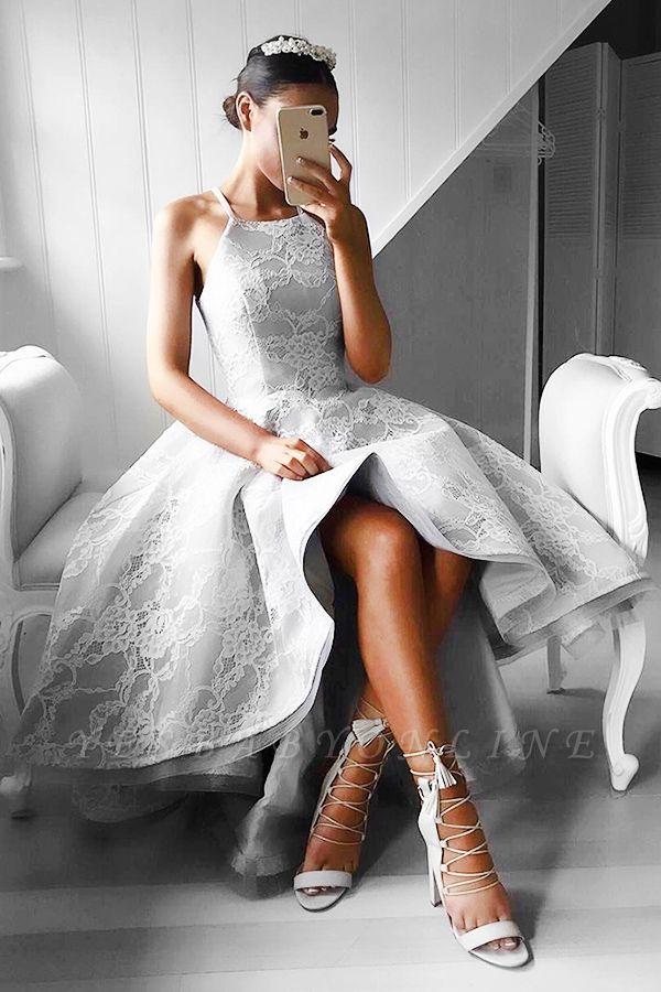 Hi-Lo Halter Sleeveless Elegant Lace A-line Prom Dresses