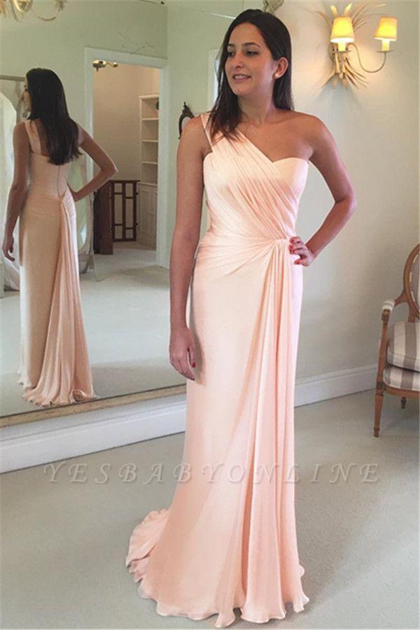 Ruffles Sleeveless Sheath Pink One-Shoulder Prom Dress