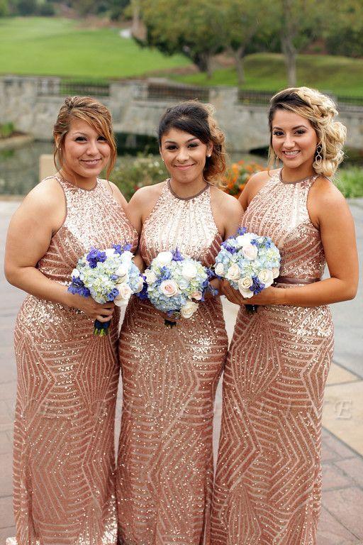 Sexy Sequins Mermaid Bridesmaid Dresses | Sleeveless Gold Wedding Party Dresses