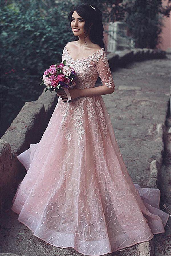 A-Line Pink Long Applique  Half-Sleeve Prom Dresses