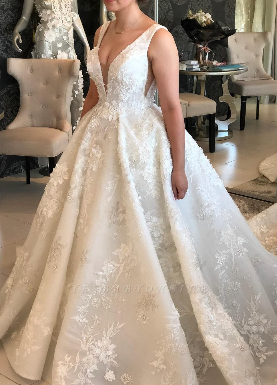 Straps V-neck Lace Appliques Puffy Wedding Dresses with Cut-outs