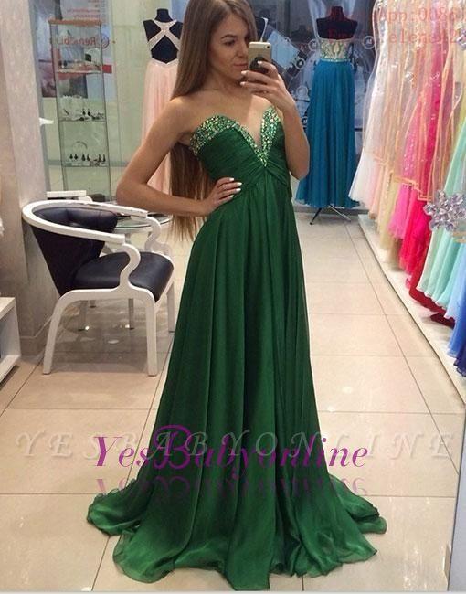 A-line Elegant Green Sleeveless  Sweetheart Evening Dress