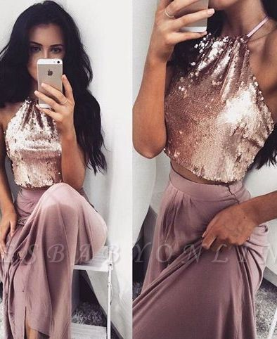 Sequins Sleeveless Two-Piece Glossy Long Halter-Neck Prom Dresses