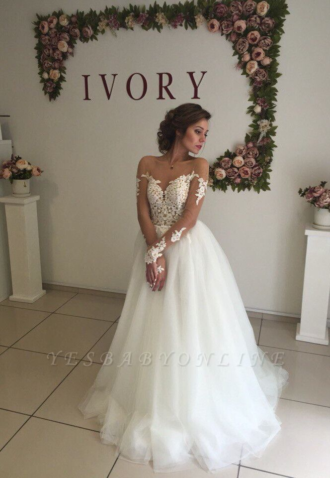 Glamorous Long Sleeves  Applique Tulle Wedding Dresses