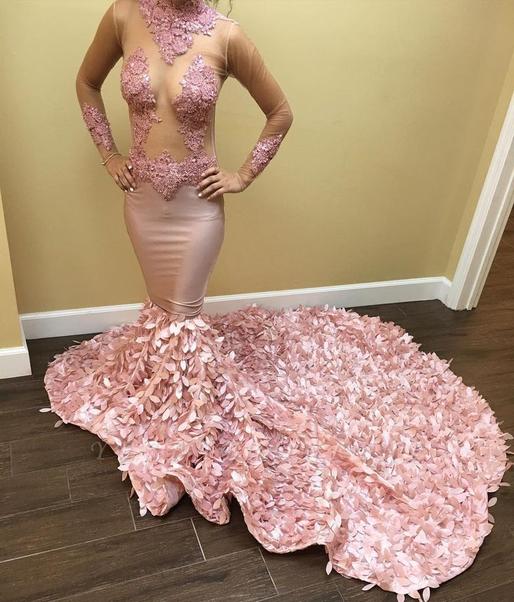 Pink Long Sleeves Prom Dresses   Long Appliques Mermaid Evening Dresses