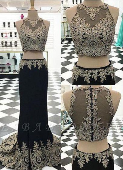 Appliques Crystal Two-Pieces Black Mermaid Sleeveless Prom Dress