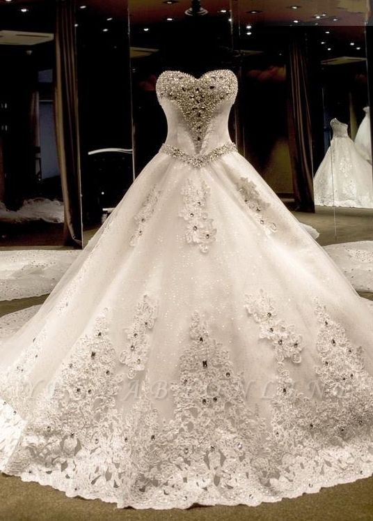 Glamorous Sweetheart Crystals Lace-up Puffy Wedding Dresses