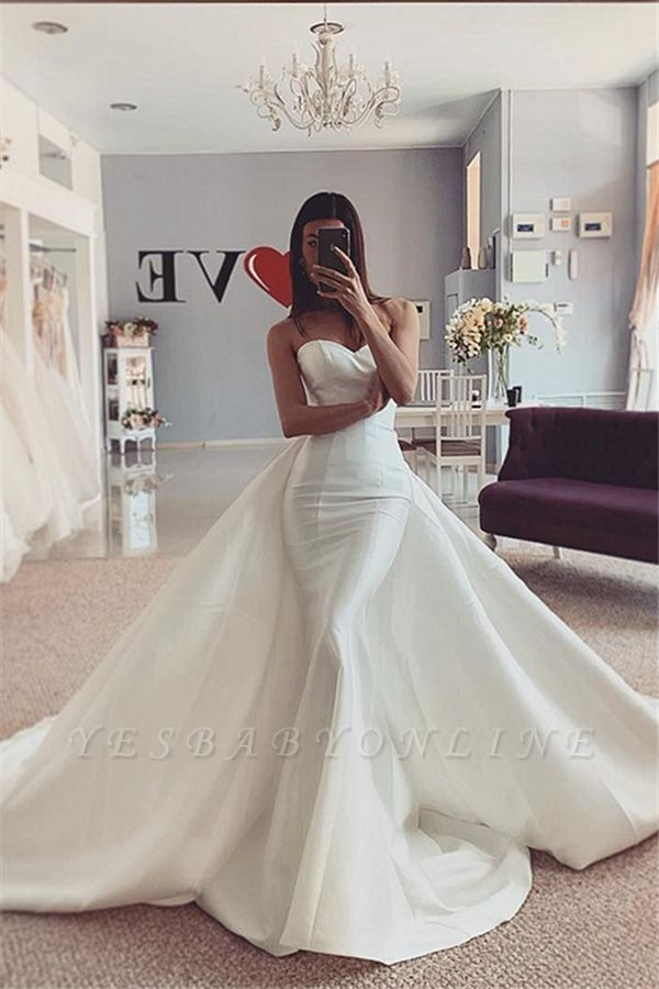 Strapless Sweetheart Stiff Wedding Dresses with Detachable Overskirt