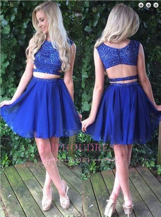 Royal-Blue Beading Modest Sleeveless Short Two-Piece Homecoming Dress