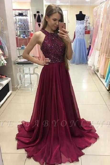 A-Line Sleeveless Newest Crystal Sweep-Train Prom Dress